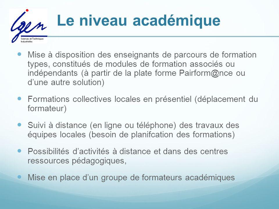 Le niveau académique Mise à disposition des enseignants de parcours de formation types, constitués de modules de formation associés ou indépendants (à