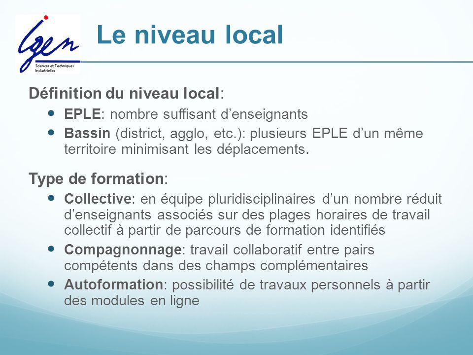 Le niveau local Définition du niveau local: EPLE: nombre suffisant d'enseignants Bassin (district, agglo, etc.): plusieurs EPLE d'un même territoire minimisant les déplacements.