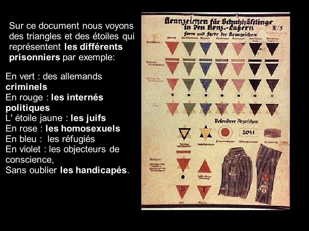 Sur ce document nous voyons des triangles et des étoiles qui représentent les différents prisonniers par exemple:. En vert : des allemands criminels E