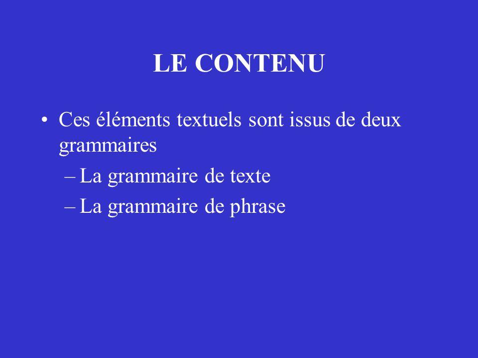 LE CONTENU Ces éléments textuels sont issus de deux grammaires –La grammaire de texte –La grammaire de phrase