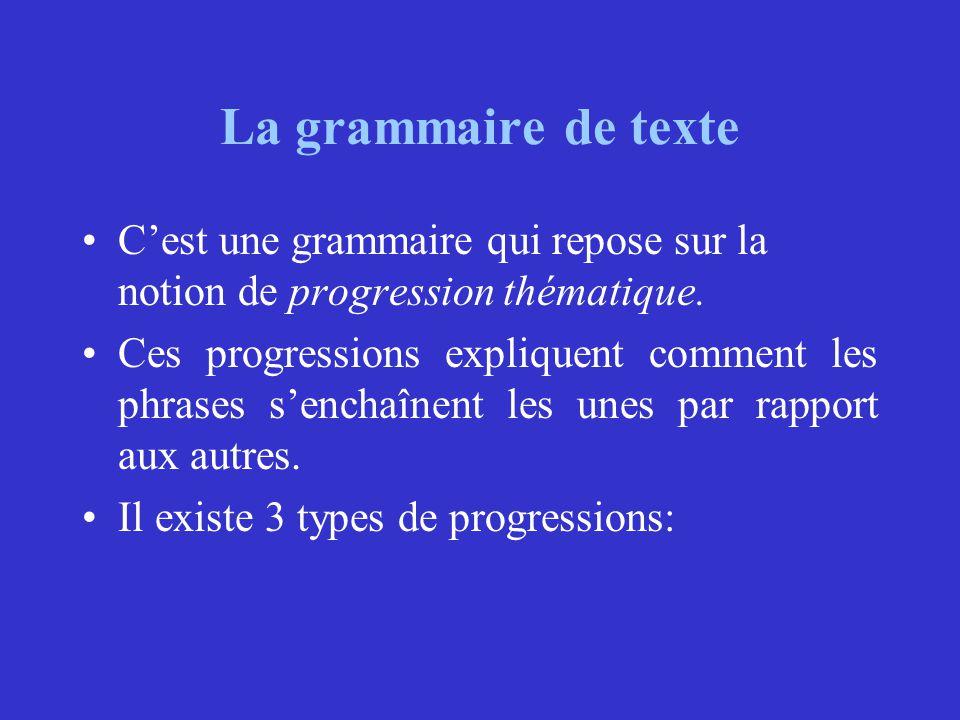 La grammaire de texte C'est une grammaire qui repose sur la notion de progression thématique. Ces progressions expliquent comment les phrases s'enchaî