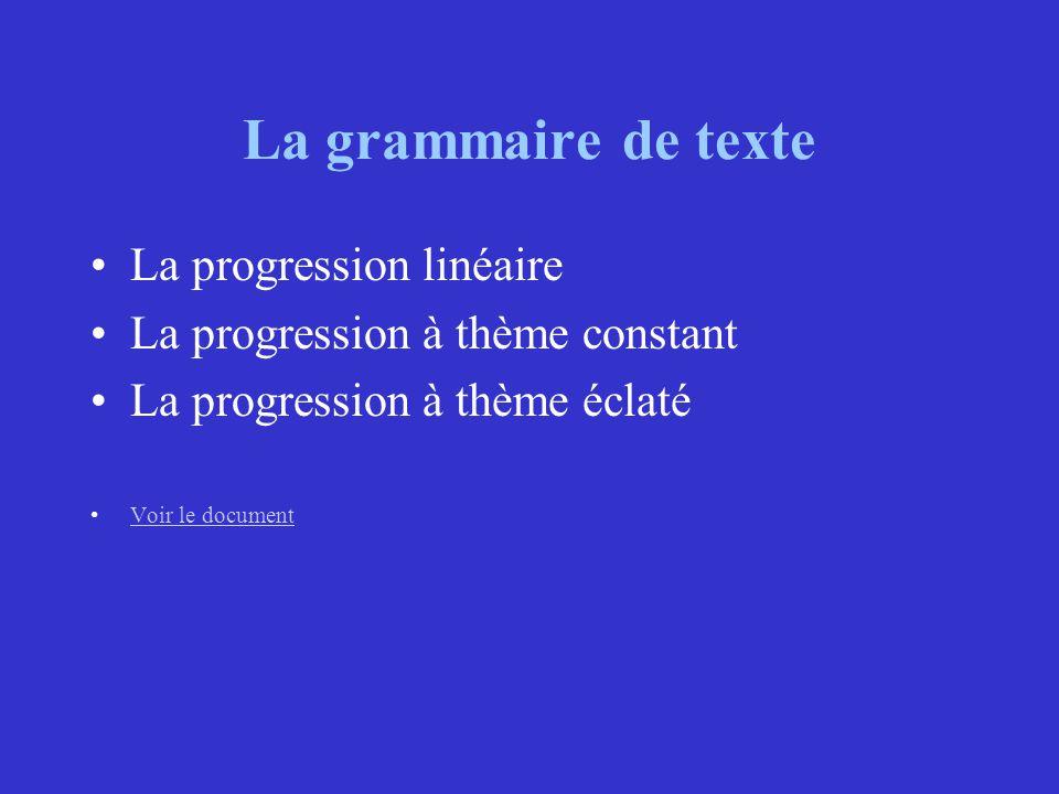 La grammaire de texte La progression linéaire La progression à thème constant La progression à thème éclaté Voir le document