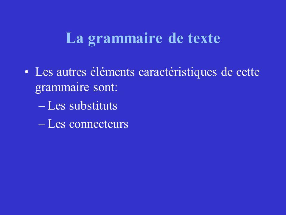 La grammaire de texte Les autres éléments caractéristiques de cette grammaire sont: –Les substituts –Les connecteurs