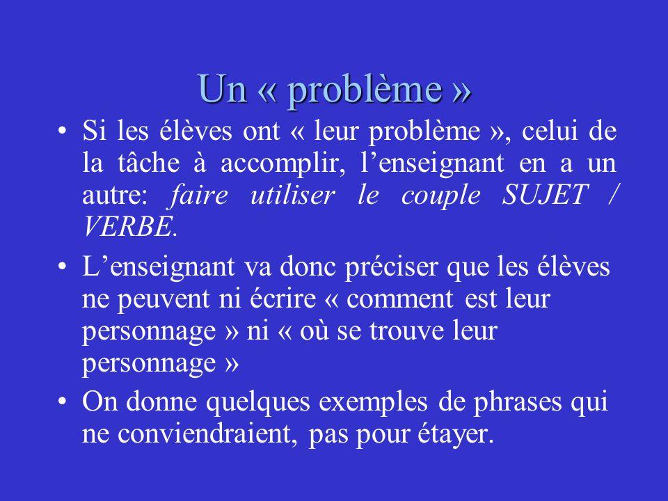 Un « problème » Si les élèves ont « leur problème », celui de la tâche à accomplir, l'enseignant en a un autre: faire utiliser le couple SUJET / VERBE