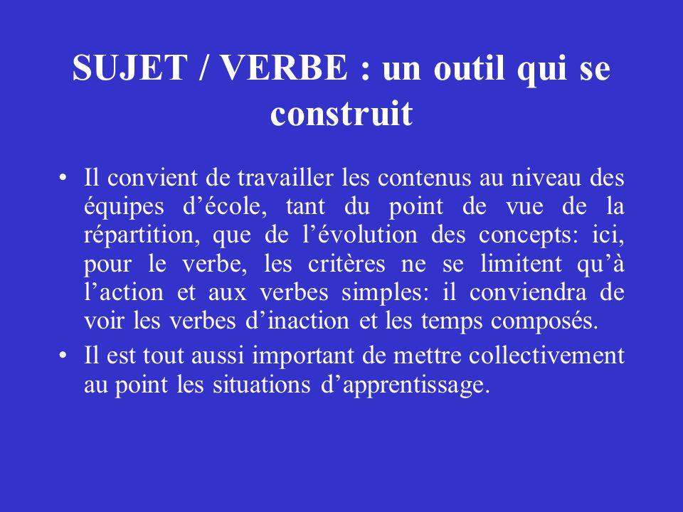 SUJET / VERBE : un outil qui se construit Il convient de travailler les contenus au niveau des équipes d'école, tant du point de vue de la répartition