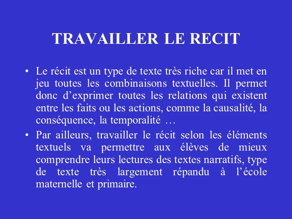 TRAVAILLER LE RECIT Le récit est un type de texte très riche car il met en jeu toutes les combinaisons textuelles. Il permet donc d'exprimer toutes le