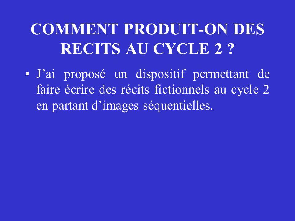 COMMENT PRODUIT-ON DES RECITS AU CYCLE 2 ? J'ai proposé un dispositif permettant de faire écrire des récits fictionnels au cycle 2 en partant d'images
