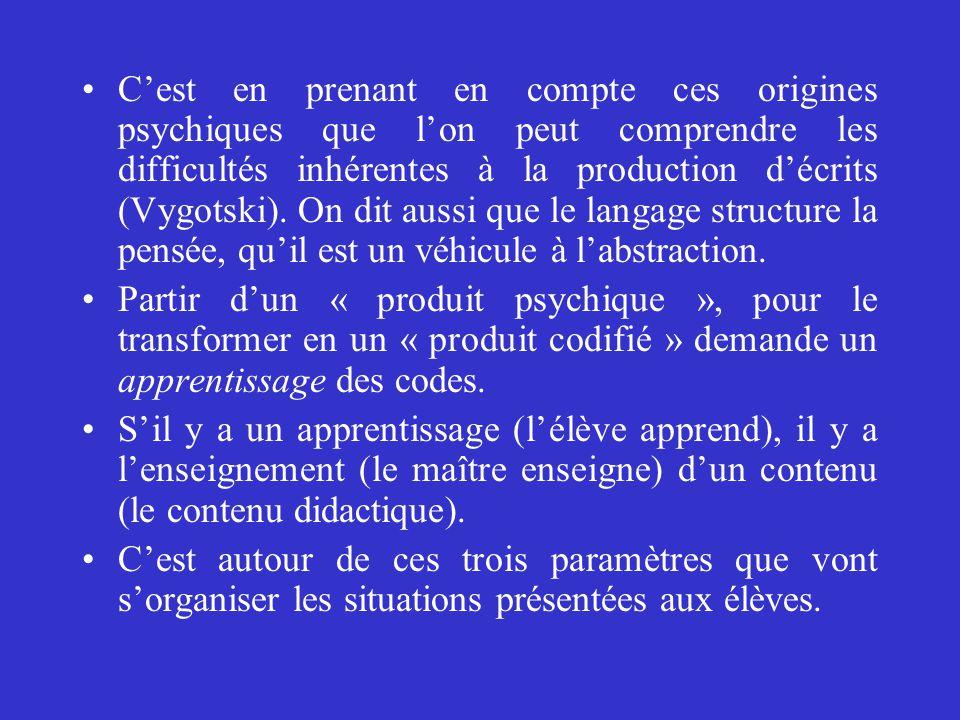C'est en prenant en compte ces origines psychiques que l'on peut comprendre les difficultés inhérentes à la production d'écrits (Vygotski). On dit aus
