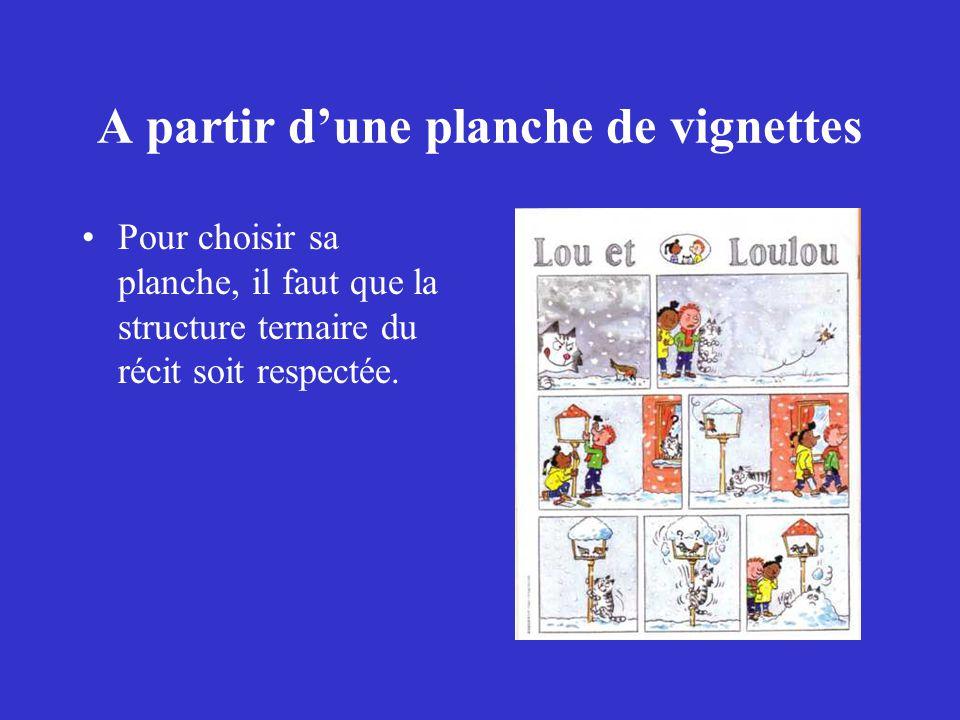 A partir d'une planche de vignettes Pour choisir sa planche, il faut que la structure ternaire du récit soit respectée.