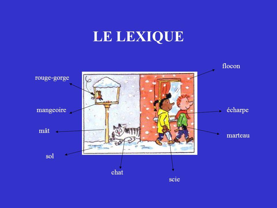LE LEXIQUE rouge-gorge mangeoire mât sol chat scie marteau écharpe flocon