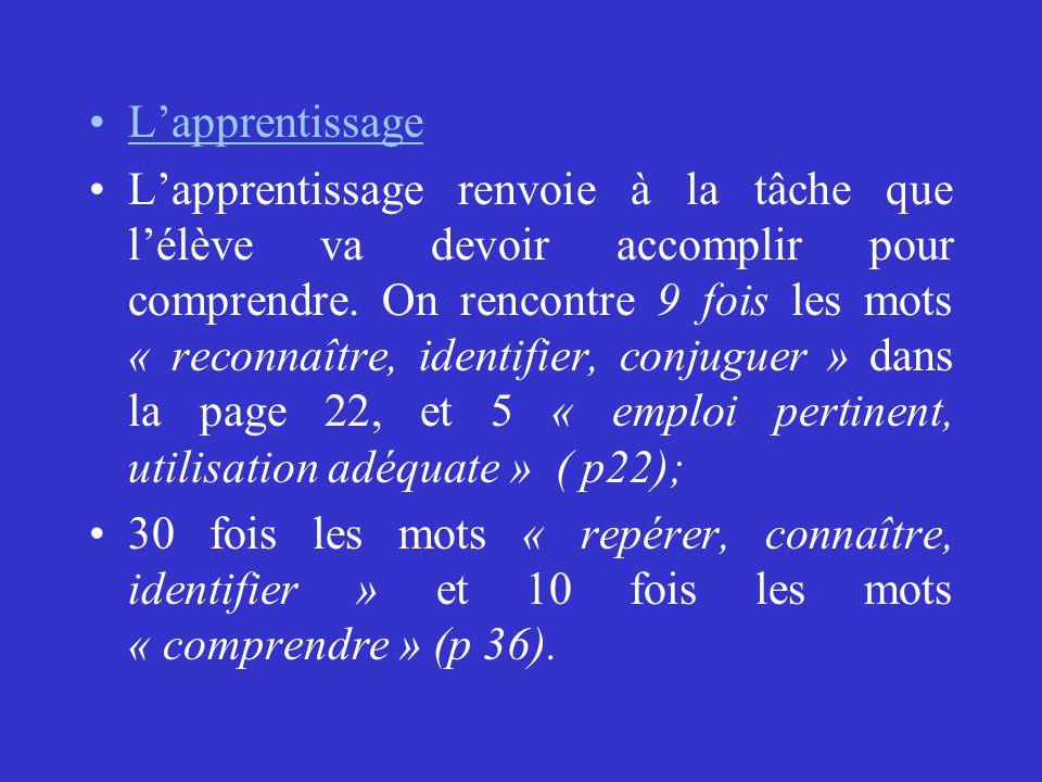 LES SITUATIONS D'APPRENTISSAGE Par exemple: les adjectifs qualificatifs ont des critères qui leur sont propres.