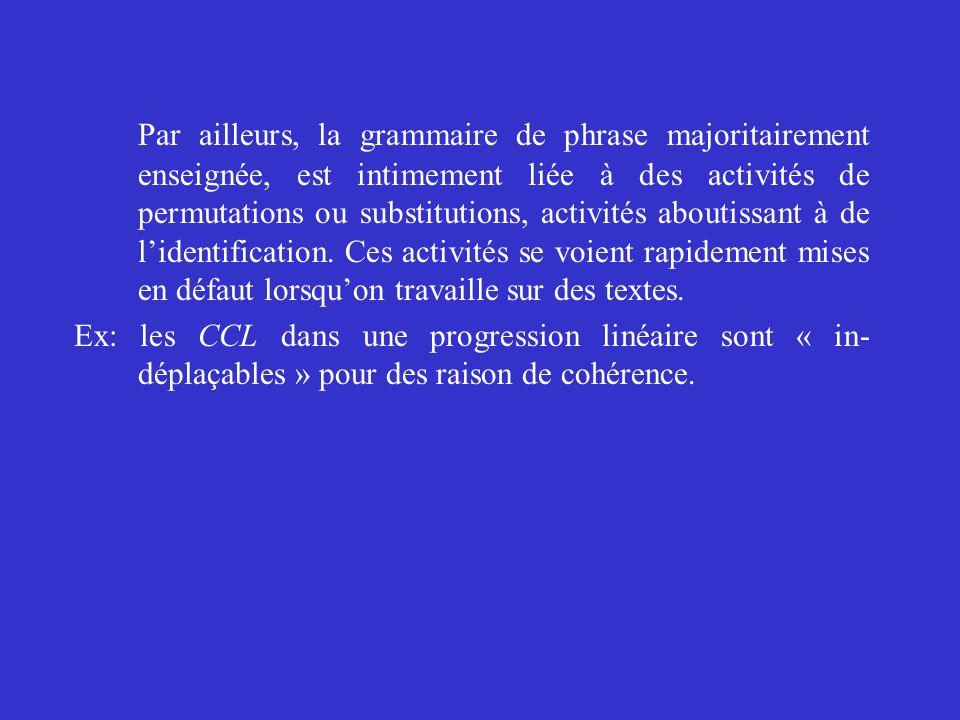 Par ailleurs, la grammaire de phrase majoritairement enseignée, est intimement liée à des activités de permutations ou substitutions, activités abouti