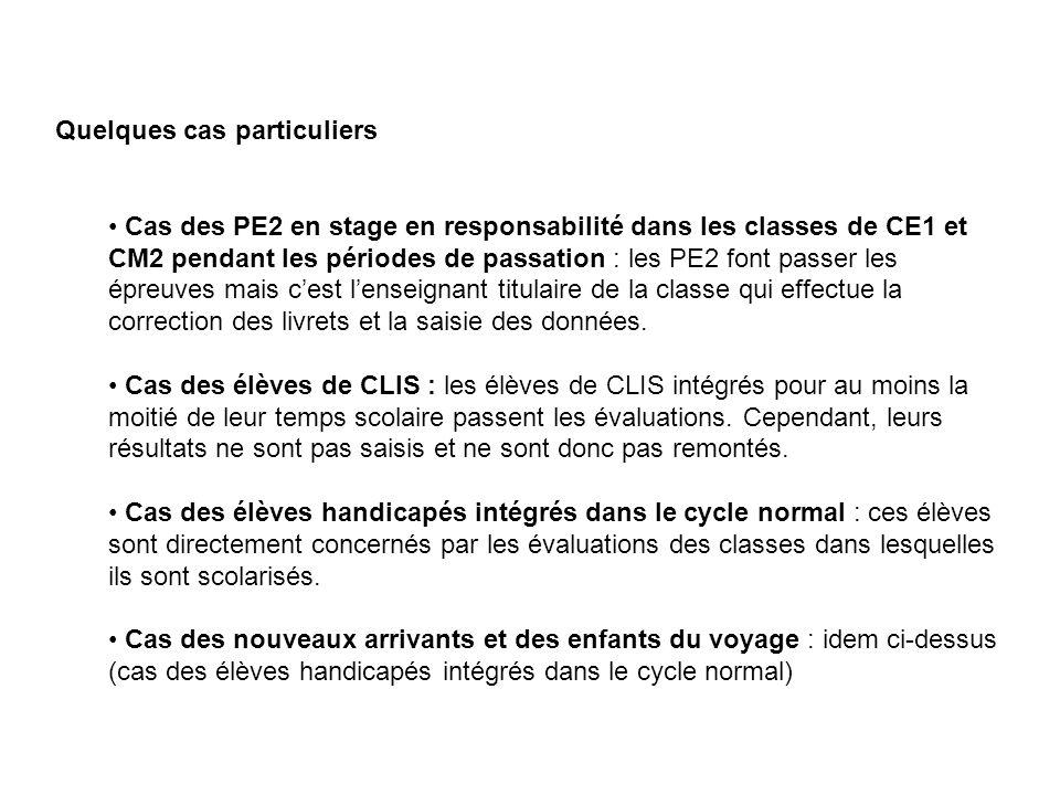 Quelques cas particuliers Cas des PE2 en stage en responsabilité dans les classes de CE1 et CM2 pendant les périodes de passation : les PE2 font passe