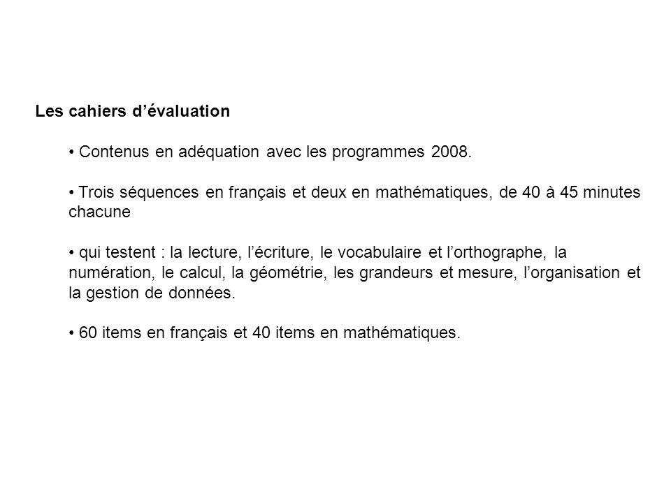 Les cahiers d'évaluation Contenus en adéquation avec les programmes 2008. Trois séquences en français et deux en mathématiques, de 40 à 45 minutes cha