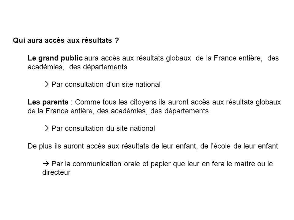 Qui aura accès aux résultats ? Le grand public aura accès aux résultats globaux de la France entière, des académies, des départements  Par consultati