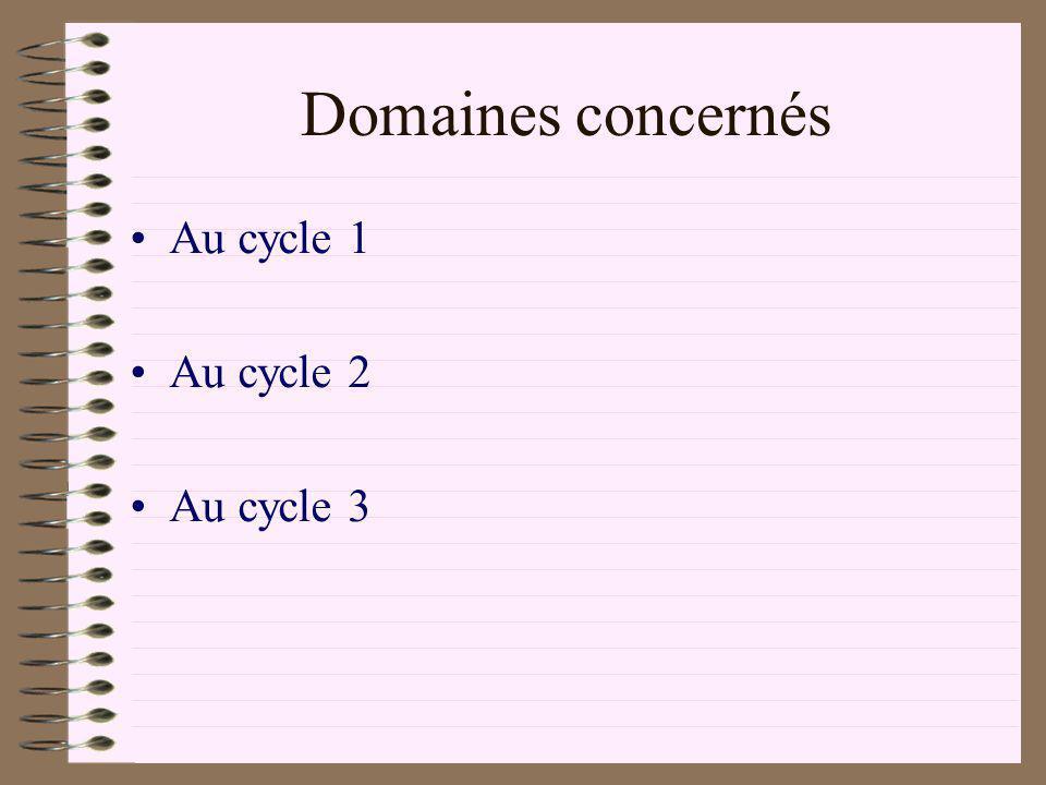 Domaines concernés Au cycle 1 Au cycle 2 Au cycle 3