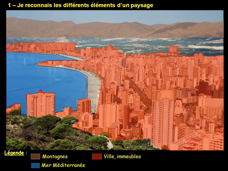 1 – Je reconnais les différents éléments d'un paysage Légende : Ville, immeublesMontagnes Mer Méditerranée