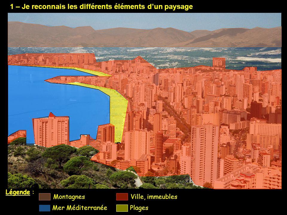 1 – Je reconnais les différents éléments d'un paysage Légende : Ville, immeubles Plages Montagnes Mer Méditerranée