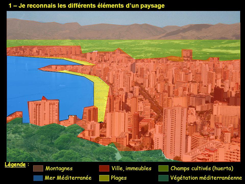1 – Je reconnais les différents éléments d'un paysage Légende : Ville, immeubles Plages Champs cultivés (huerta) Végétation méditerranéenne Montagnes Mer Méditerranée