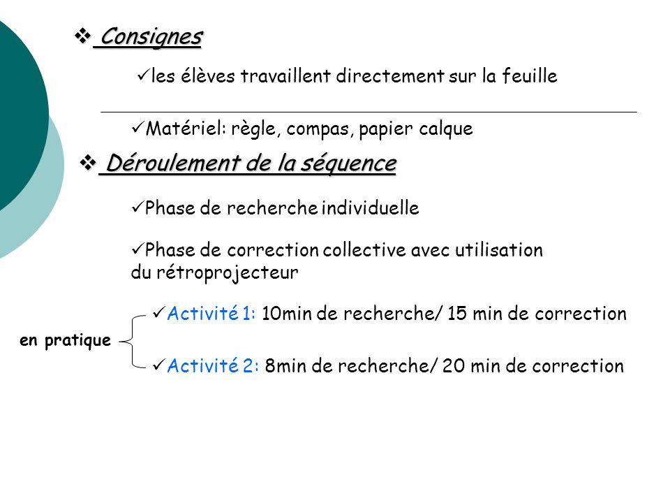  Consignes les élèves travaillent directement sur la feuille Matériel: règle, compas, papier calque  Déroulement de la séquence Phase de recherche i