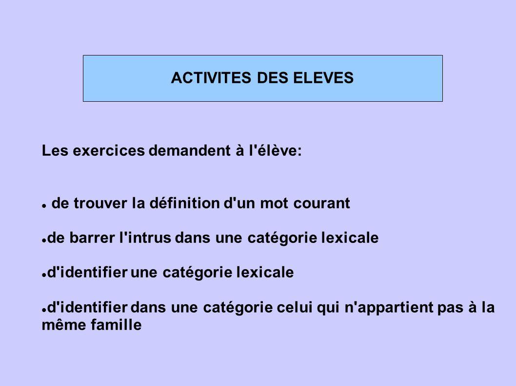 ACTIVITES DES ELEVES Les exercices demandent à l'élève: de trouver la définition d'un mot courant de barrer l'intrus dans une catégorie lexicale d'ide