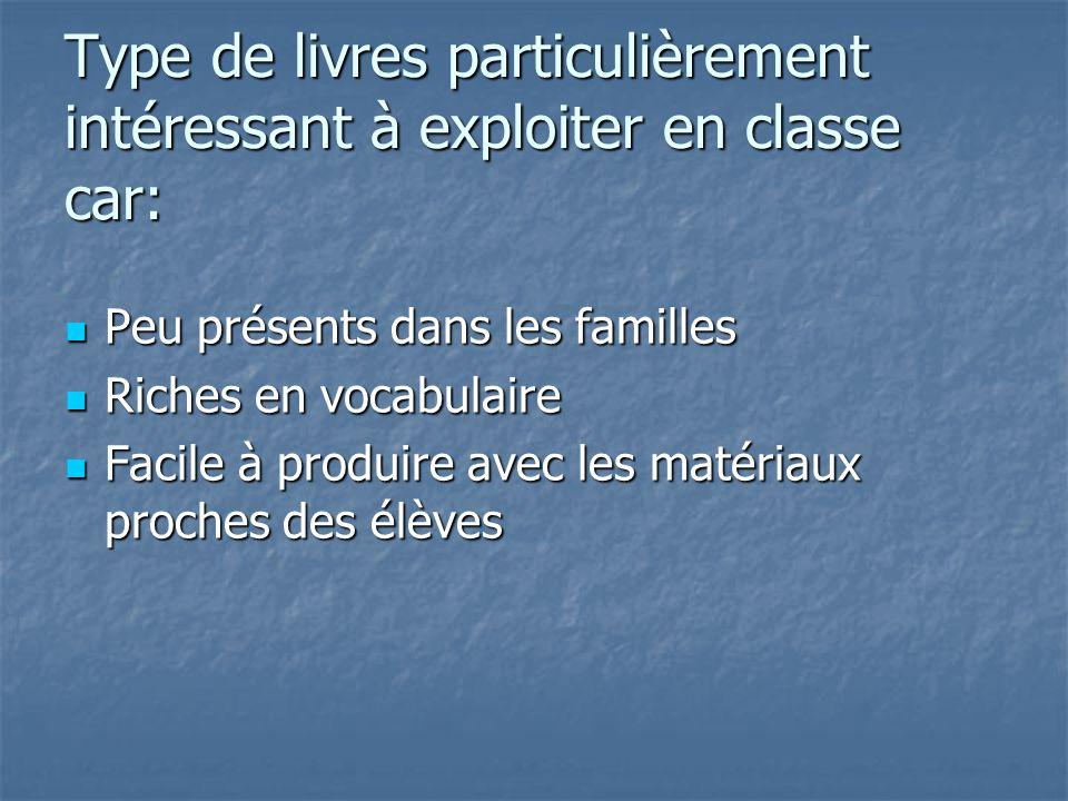 Type de livres particulièrement intéressant à exploiter en classe car: Peu présents dans les familles Peu présents dans les familles Riches en vocabul