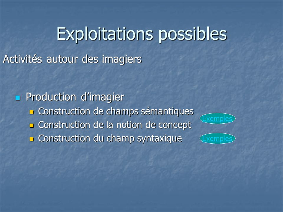 Exploitations possibles Production d'imagier Production d'imagier Construction de champs sémantiques Construction de champs sémantiques Construction d