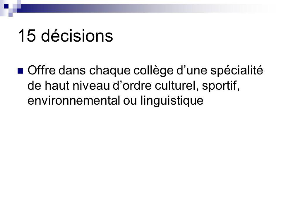 15 décisions Offre dans chaque collège d'une spécialité de haut niveau d'ordre culturel, sportif, environnemental ou linguistique