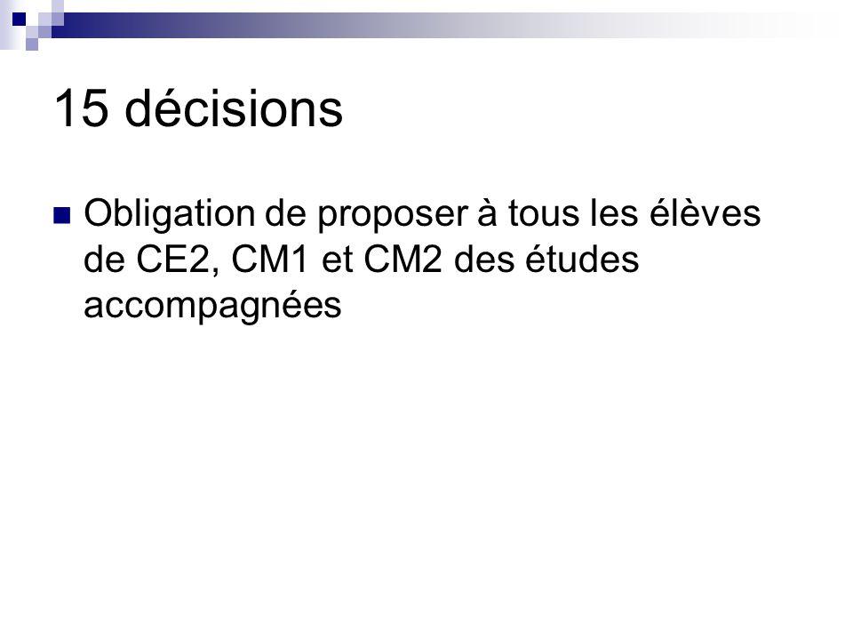 15 décisions Obligation de proposer à tous les élèves de CE2, CM1 et CM2 des études accompagnées