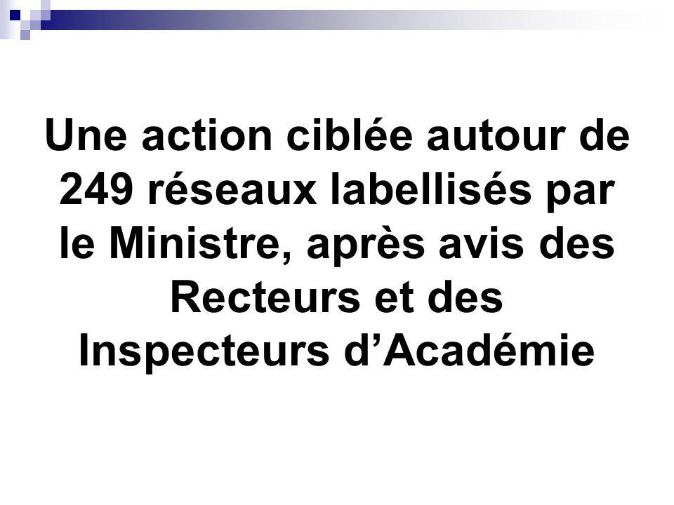 Une action ciblée autour de 249 réseaux labellisés par le Ministre, après avis des Recteurs et des Inspecteurs d'Académie