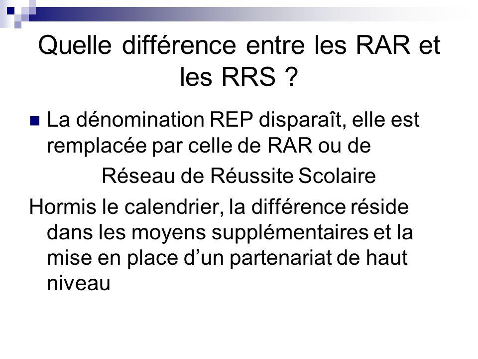 Quelle différence entre les RAR et les RRS .