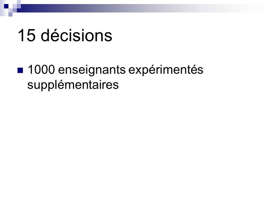 15 décisions 1000 enseignants expérimentés supplémentaires