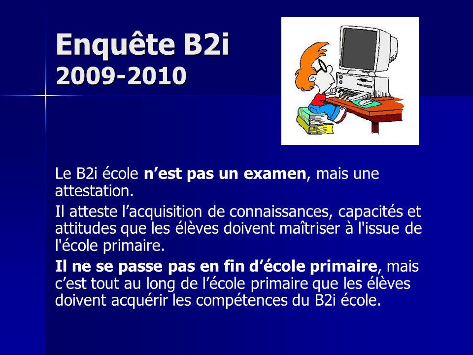 Enquête B2i 2009-2010 Le B2i école n'est pas un examen, mais une attestation.