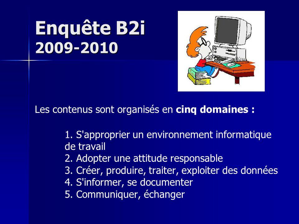 Enquête B2i 2009-2010 Les contenus sont organisés en cinq domaines : 1.