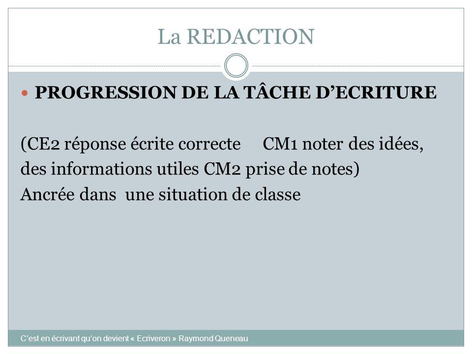 La REDACTION PROGRESSION DE LA TÂCHE D'ECRITURE (CE2 réponse écrite correcte CM1 noter des idées, des informations utiles CM2 prise de notes) Ancrée d