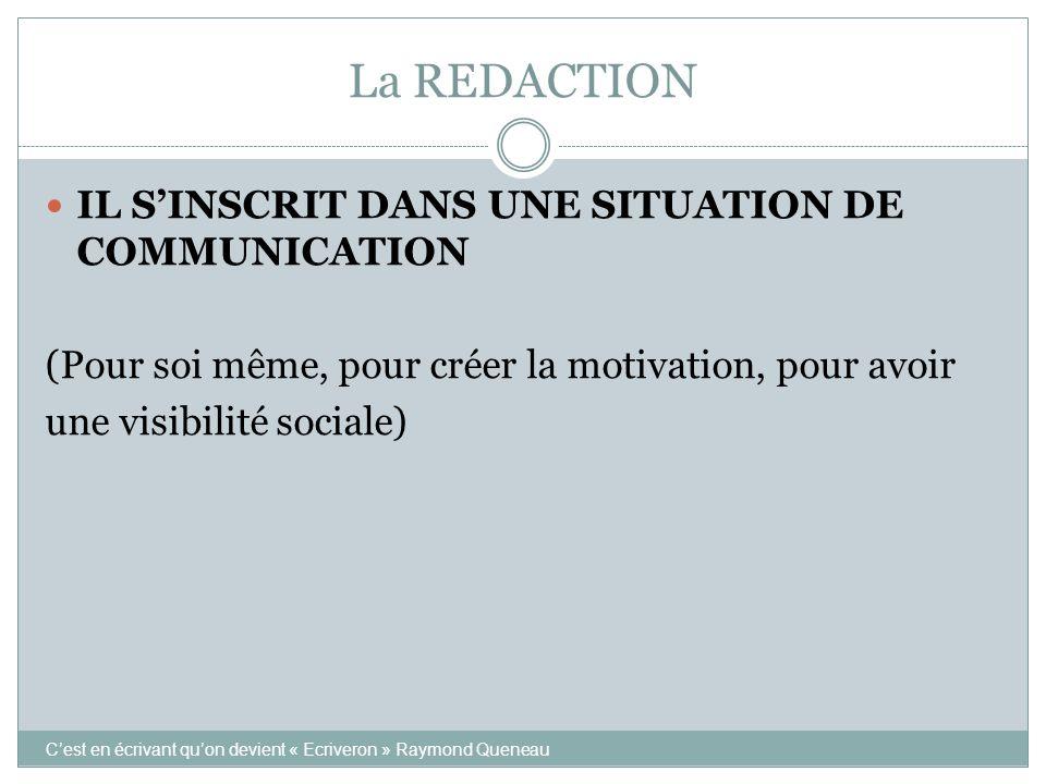 La REDACTION IL S'INSCRIT DANS UNE SITUATION DE COMMUNICATION (Pour soi même, pour créer la motivation, pour avoir une visibilité sociale) C'est en éc