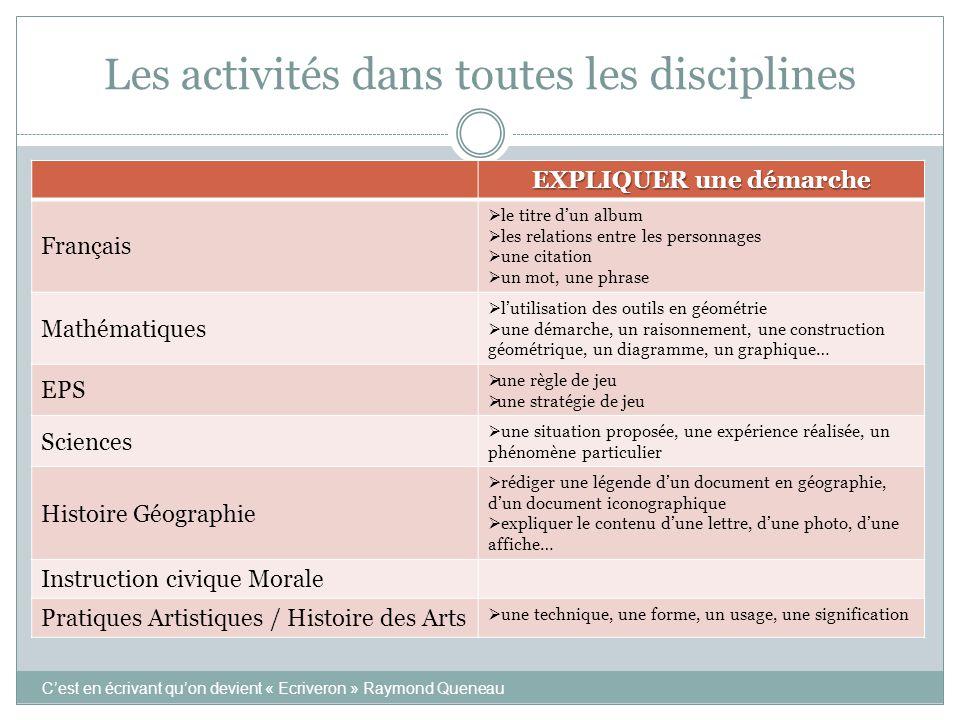 Les activités dans toutes les disciplines EXPLIQUER une démarche Français  le titre d'un album  les relations entre les personnages  une citation 