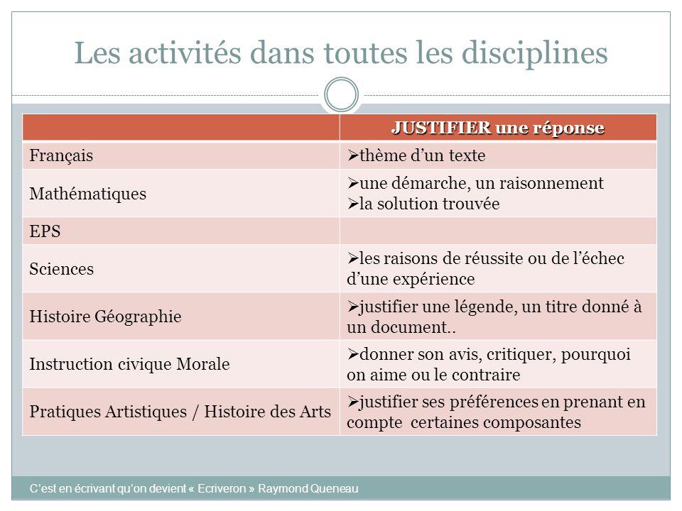 Les activités dans toutes les disciplines JUSTIFIER une réponse Français  thème d'un texte Mathématiques  une démarche, un raisonnement  la solutio