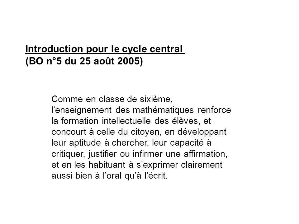 Introduction pour le cycle central (BO n°5 du 25 août 2005) Comme en classe de sixième, l'enseignement des mathématiques renforce la formation intelle