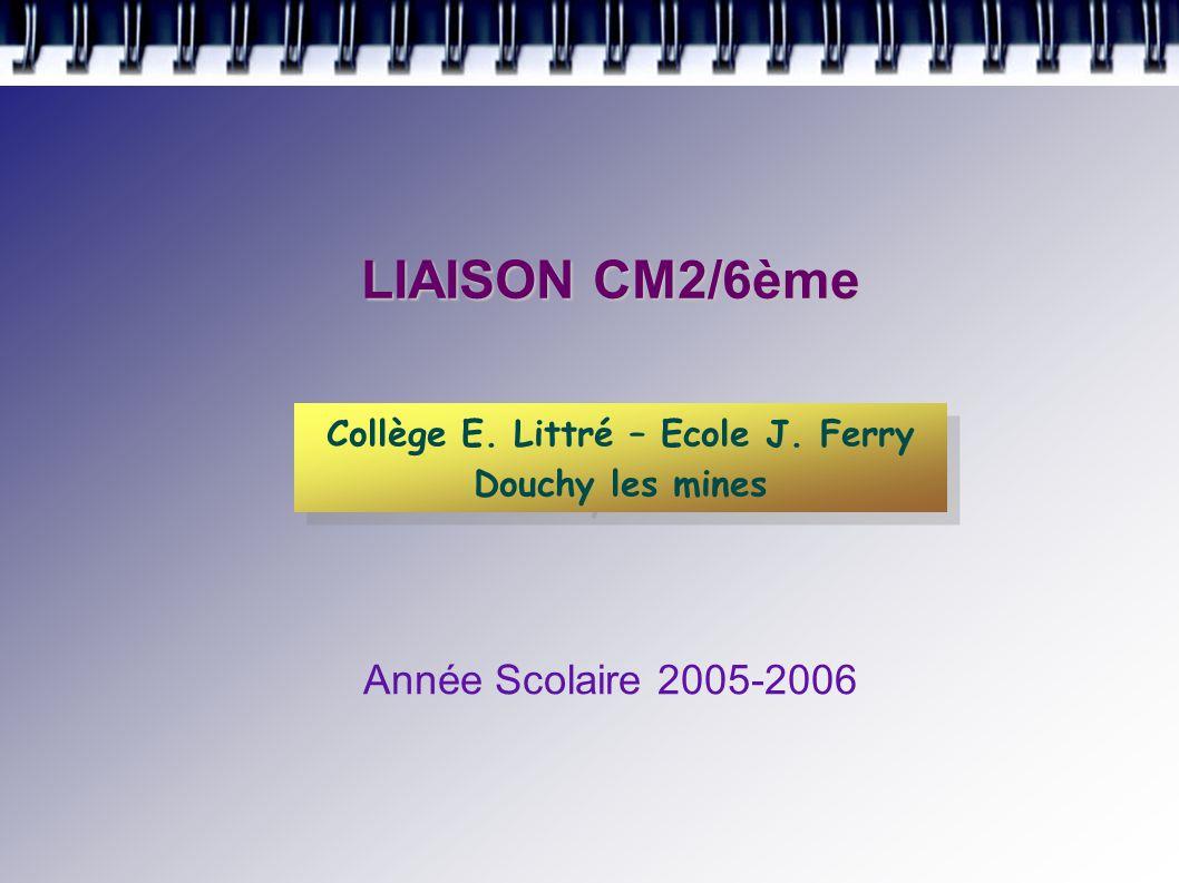 LIAISON CM2/6ème Année Scolaire 2005-2006 Collège E.