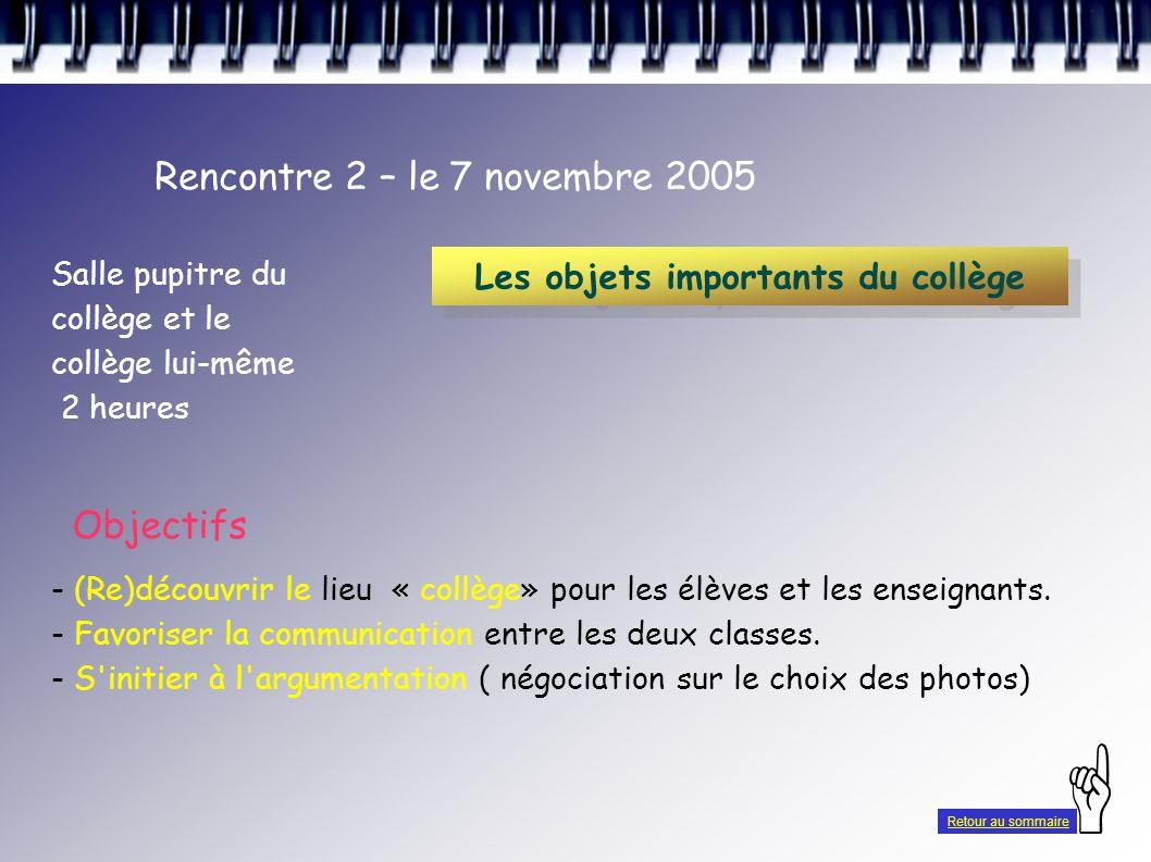 Rencontre 2 – le 7 novembre 2005 Salle pupitre du collège et le collège lui-même 2 heures - (Re)découvrir le lieu « collège» pour les élèves et les enseignants.