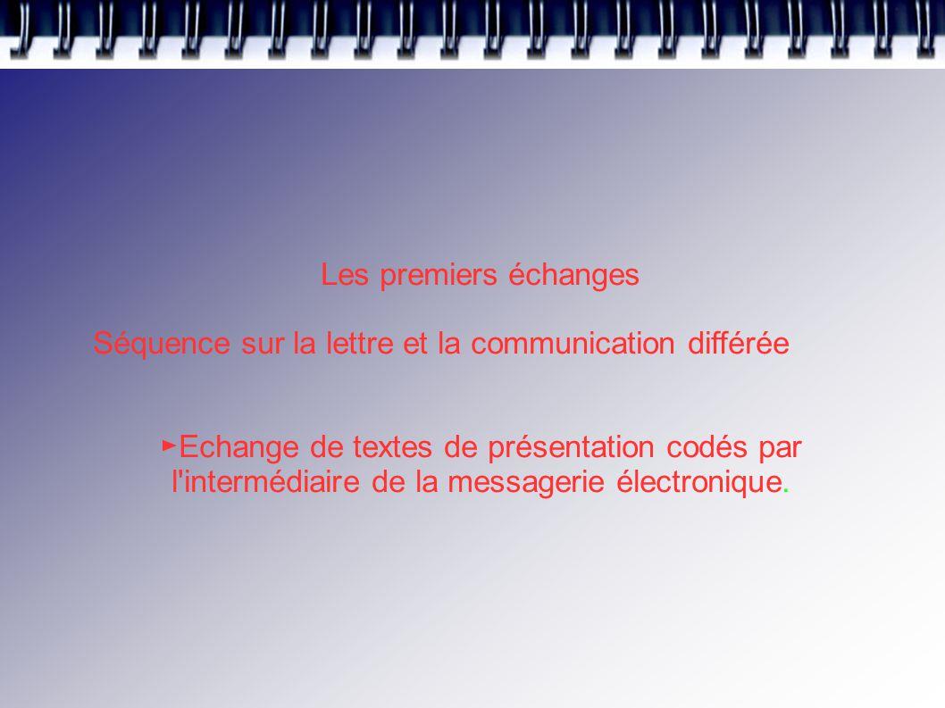 Les premiers échanges Séquence sur la lettre et la communication différée ► Echange de textes de présentation codés par l intermédiaire de la messagerie électronique.