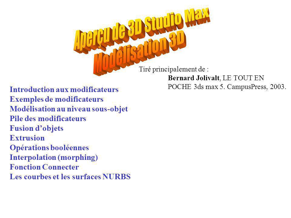 Introduction aux modificateurs Exemples de modificateurs Modélisation au niveau sous-objet Pile des modificateurs Fusion d'objets Extrusion Opérations