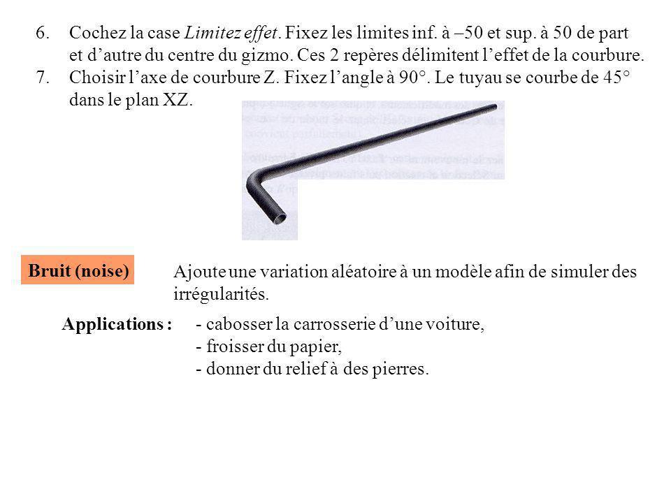 6.Cochez la case Limitez effet. Fixez les limites inf. à –50 et sup. à 50 de part et d'autre du centre du gizmo. Ces 2 repères délimitent l'effet de l