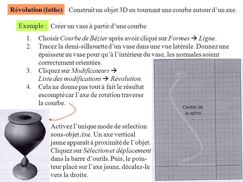 Révolution (lathe) Construit un objet 3D en tournant une courbe autour d'un axe. Exemple : Créer un vase à partir d'une courbe. 1.Choisir Courbe de Bé
