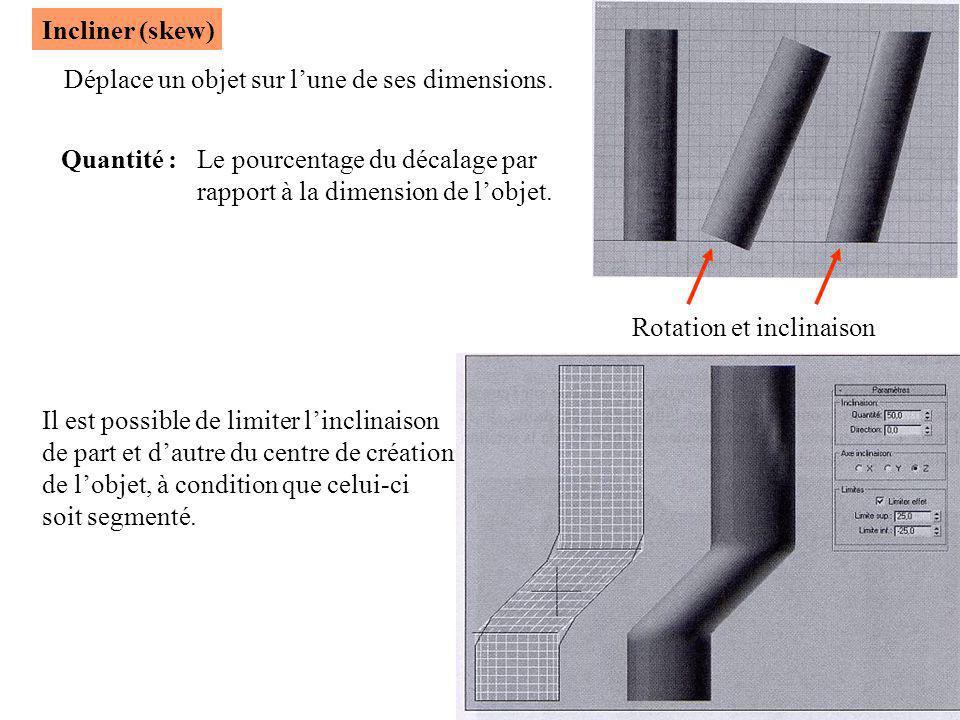 Incliner (skew) Rotation et inclinaison Déplace un objet sur l'une de ses dimensions. Quantité :Le pourcentage du décalage par rapport à la dimension
