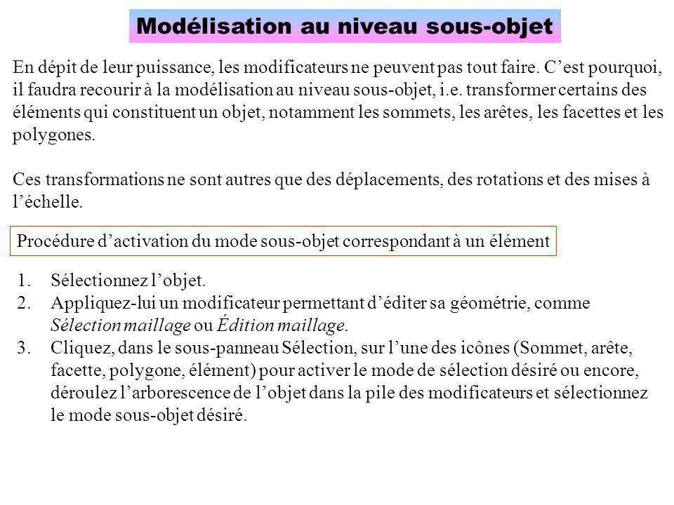 Modélisation au niveau sous-objet En dépit de leur puissance, les modificateurs ne peuvent pas tout faire. C'est pourquoi, il faudra recourir à la mod