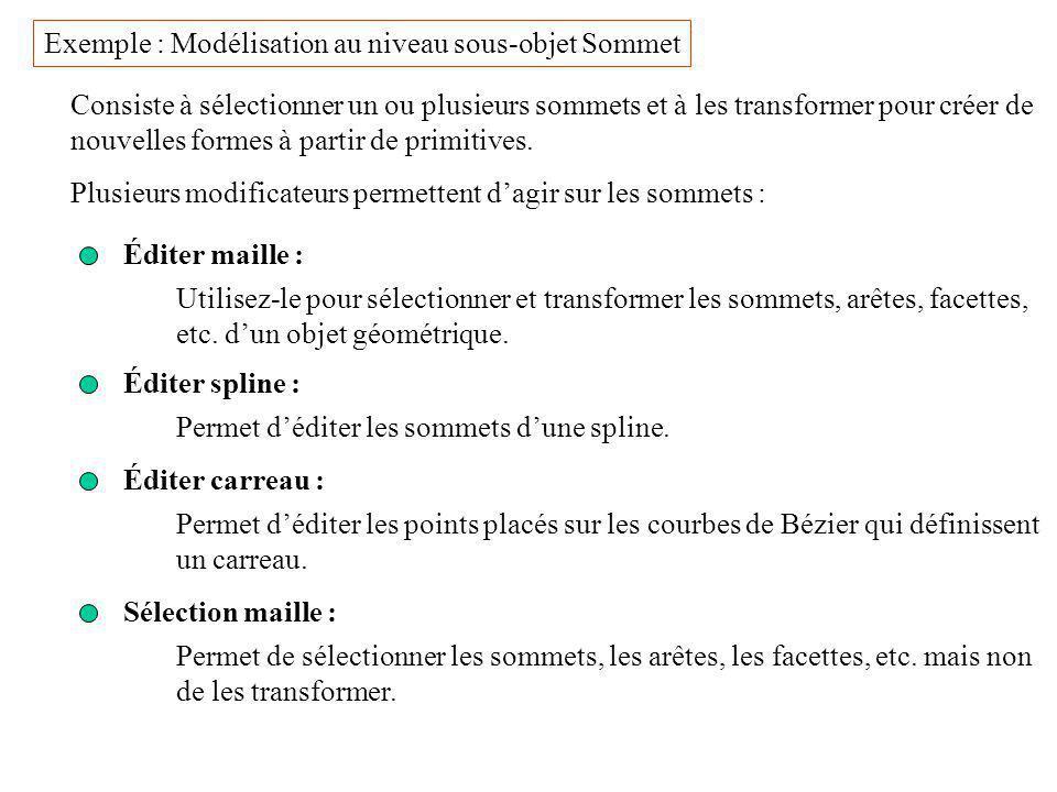 Exemple : Modélisation au niveau sous-objet Sommet Consiste à sélectionner un ou plusieurs sommets et à les transformer pour créer de nouvelles formes à partir de primitives.