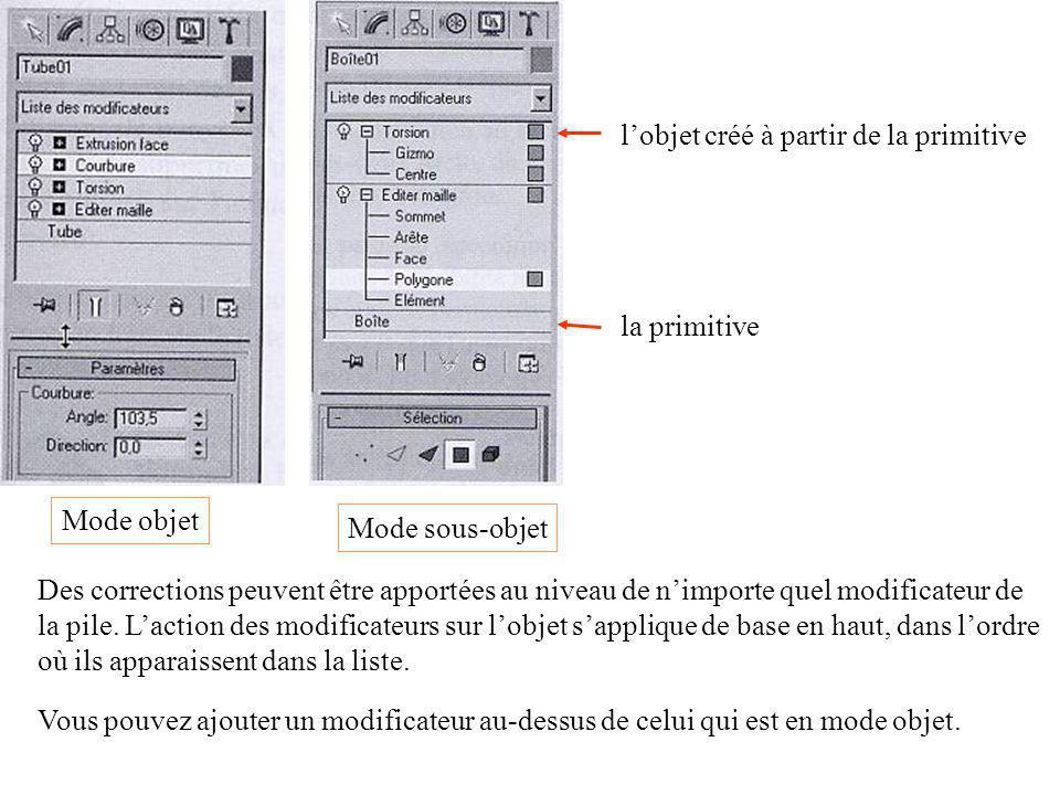 Mode objet Mode sous-objet la primitive l'objet créé à partir de la primitive Des corrections peuvent être apportées au niveau de n'importe quel modificateur de la pile.
