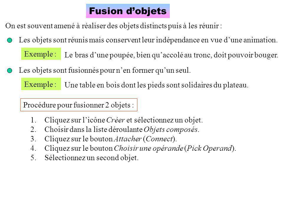 Fusion d'objets On est souvent amené à réaliser des objets distincts puis à les réunir : Les objets sont réunis mais conservent leur indépendance en vue d'une animation.